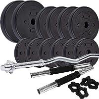 ScSPORTS® 35,5 kg Kunststoff Hantelset mit 1x SZ Curlstange und 2x Kurzhanteln mit Gewinde, Kombiset inkl. 12 Hantelscheiben Gewichte