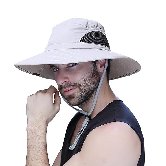 Hombre Verano Sombrero Unisexo Sol UV Proteccion Cangilón Sombrero Al aire  libre Impermeable Pescador de Ala 5a7ccdbbb7c