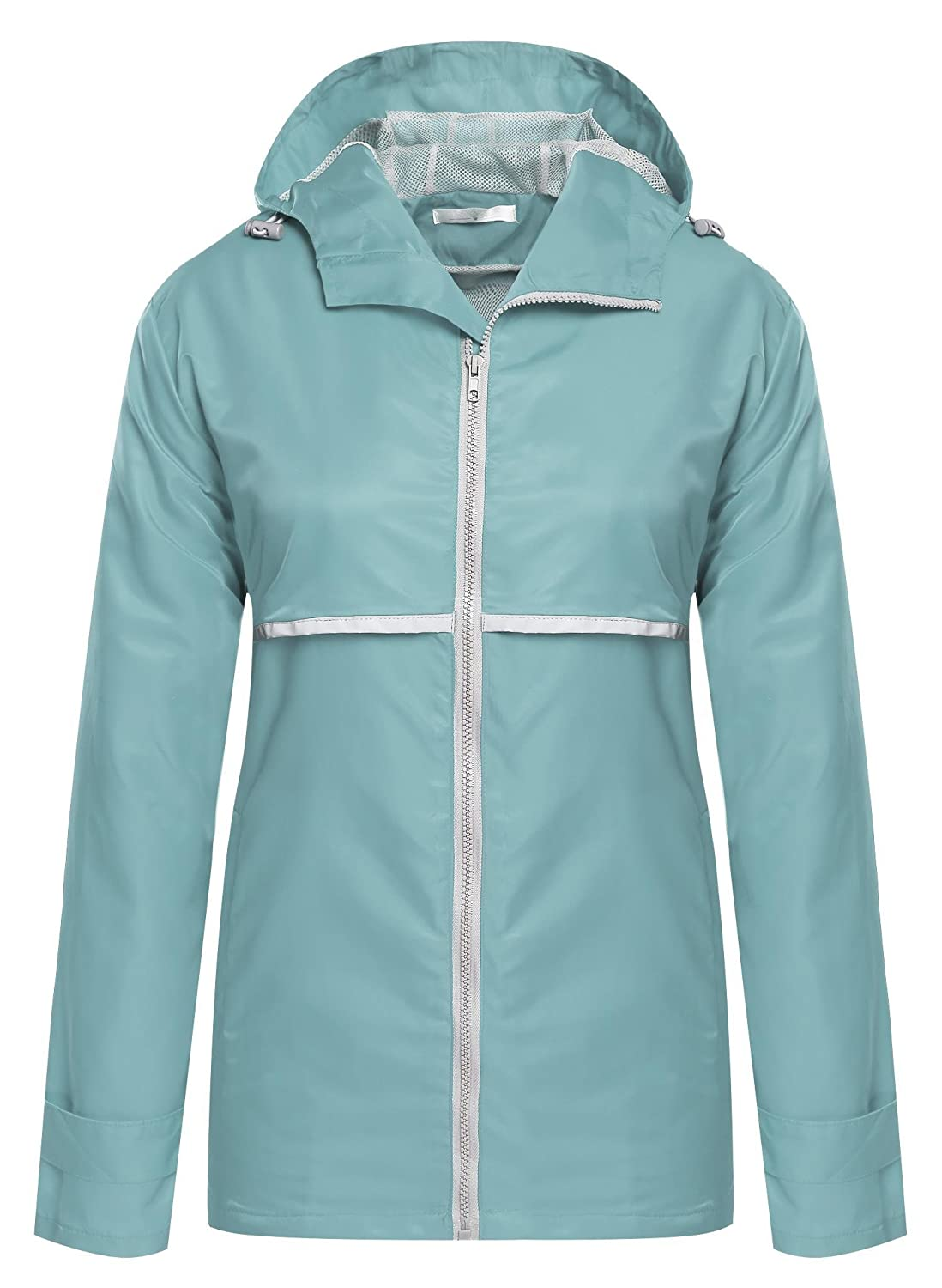 ELESOL Women's Waterproof Raincoat Outdoor Hooded Rain Jacket Windbreaker ELH005134#