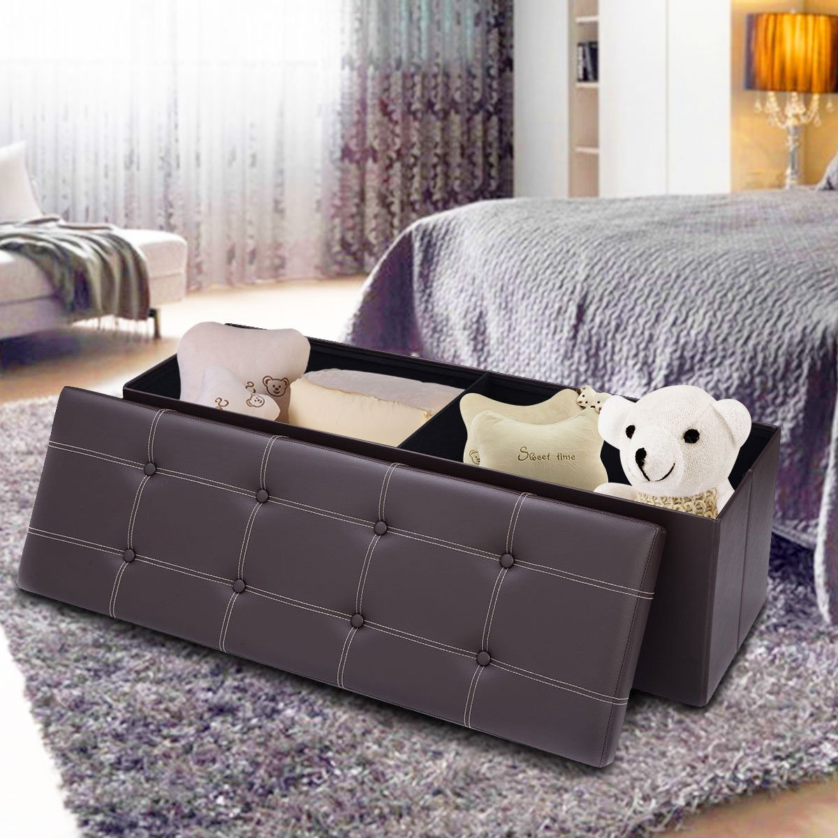 Giantex 45'' Folding Storage Ottoman Bench Tufted Faux Leather Coffee Table Foot Rest Stool Seat Padded Seat Storage Chest, Brown by Giantex