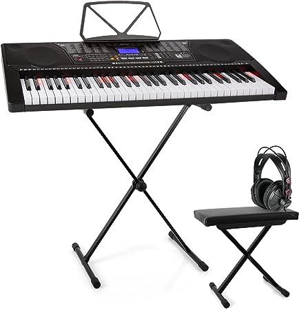 Schubert Etude 225 USB Teclado con auriculares de estudio, soporte y banco de altura regulable - Piano de 61 teclas luminosas, Reproductor MIDI USB