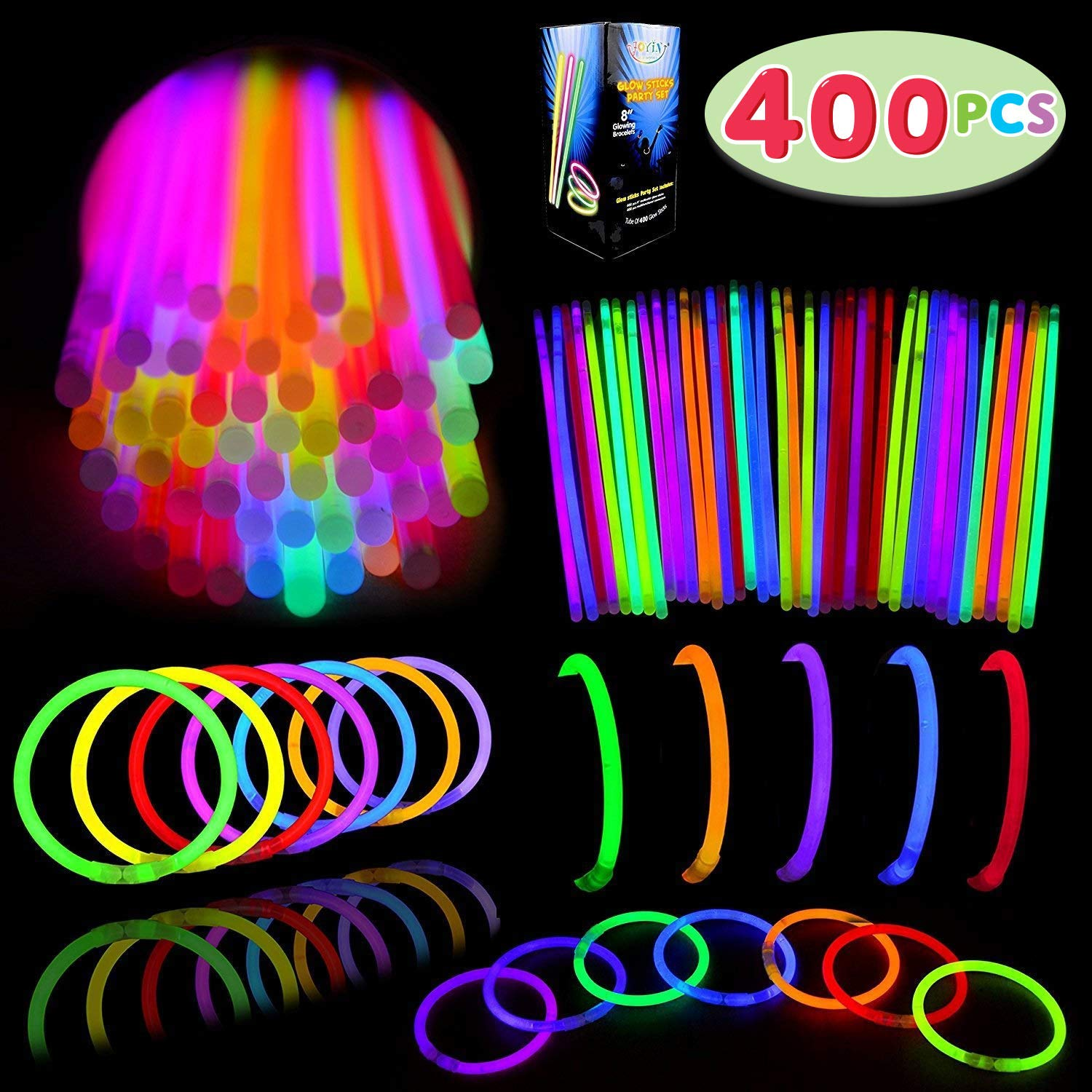 Glow Sticks Bulk 400 8 Glowsticks (Total 800 Pcs 7 Colors); Glow Stick Bracelets; Glow Necklaces Superbowl Party Supplies Pack with 400 Bracelet Connectors.