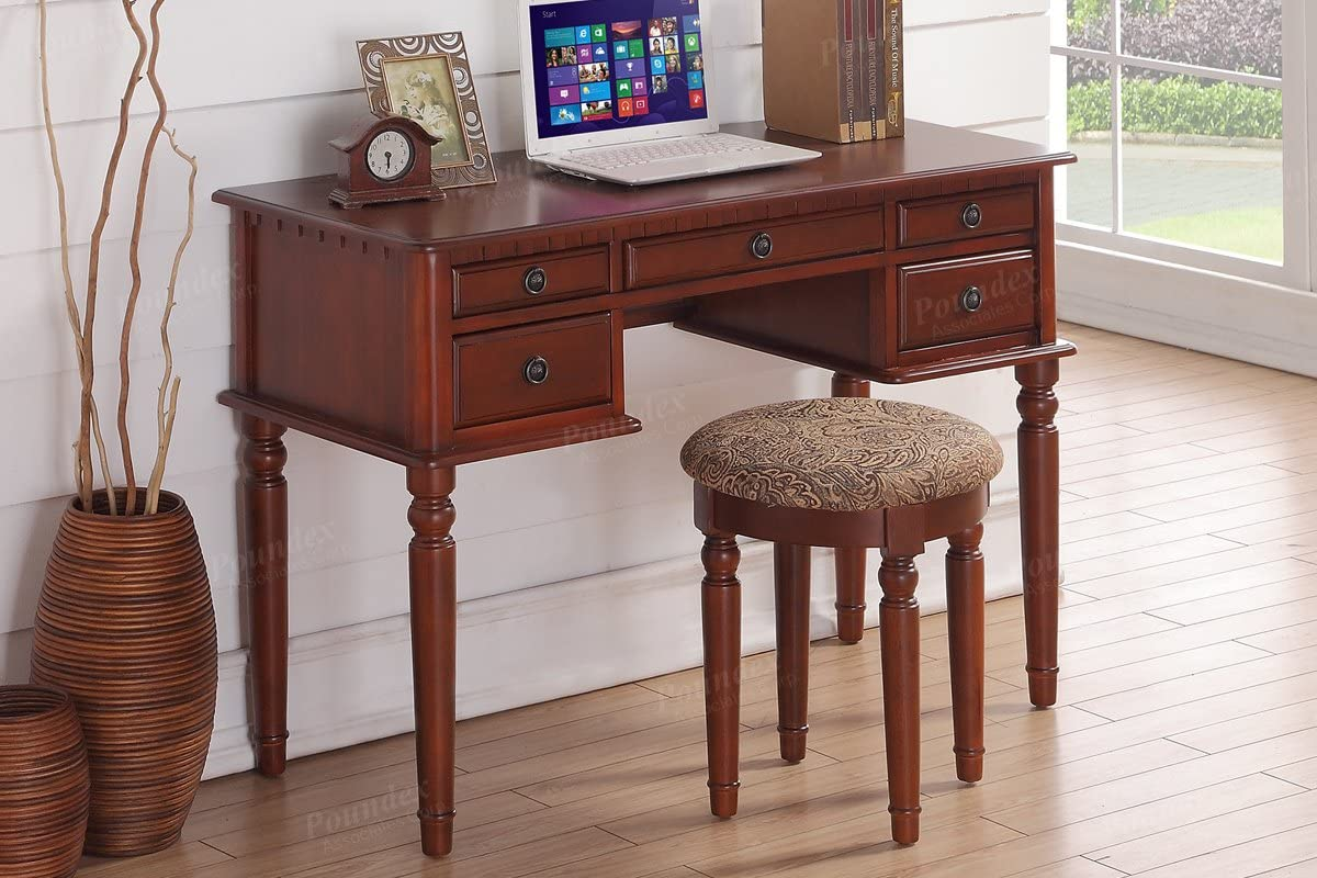 Home office cherry color writing desk that features a wooden frame with storage drawers and a matching cushioned stool
