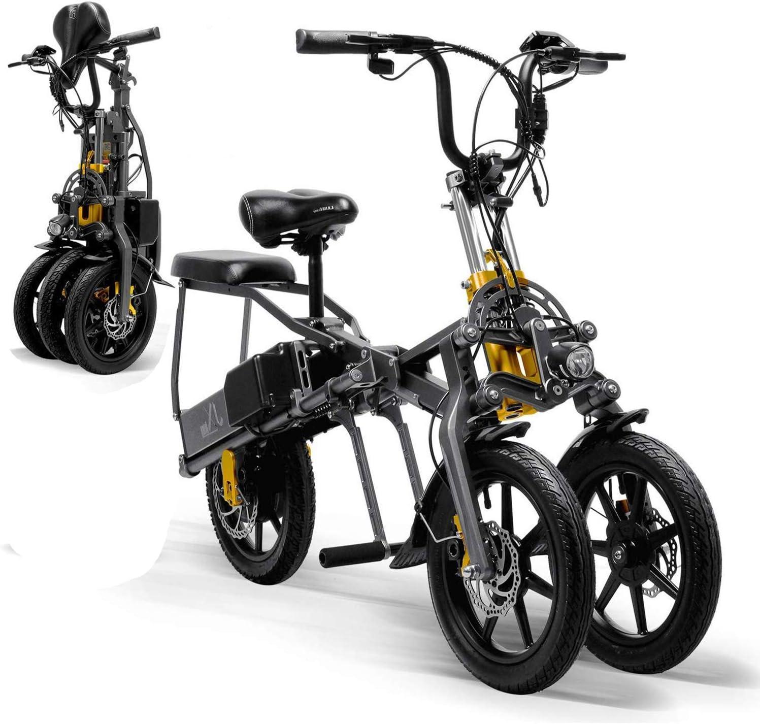 A&DW Mini Eléctrico Triciclo Plegable Triciclo 14 Pulgadas, Eléctrico Portátil para Adultos Scooter