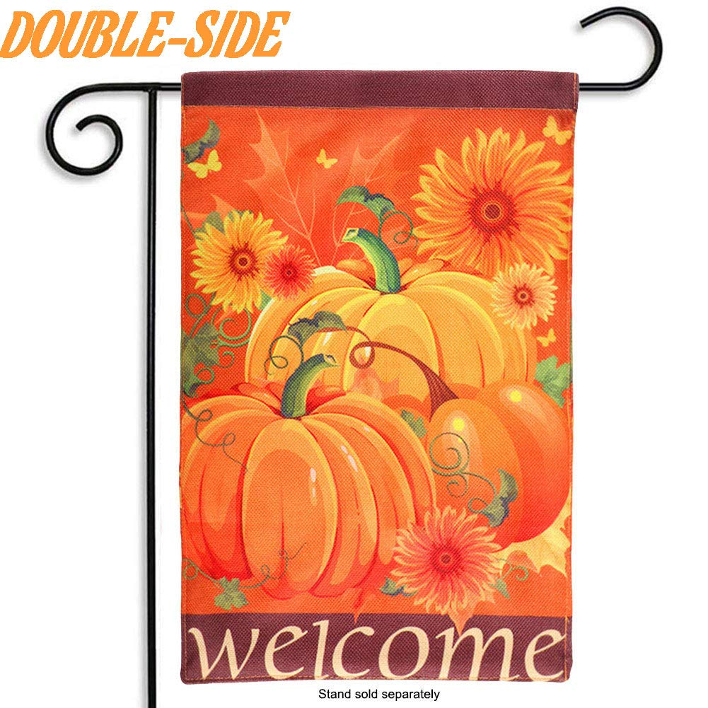 OurWarm Double Sided Fall Pumpkin Garden Flag 12 x 18 Inches Autumn Harvest Sunflower Decorative Welcome Yard Flag