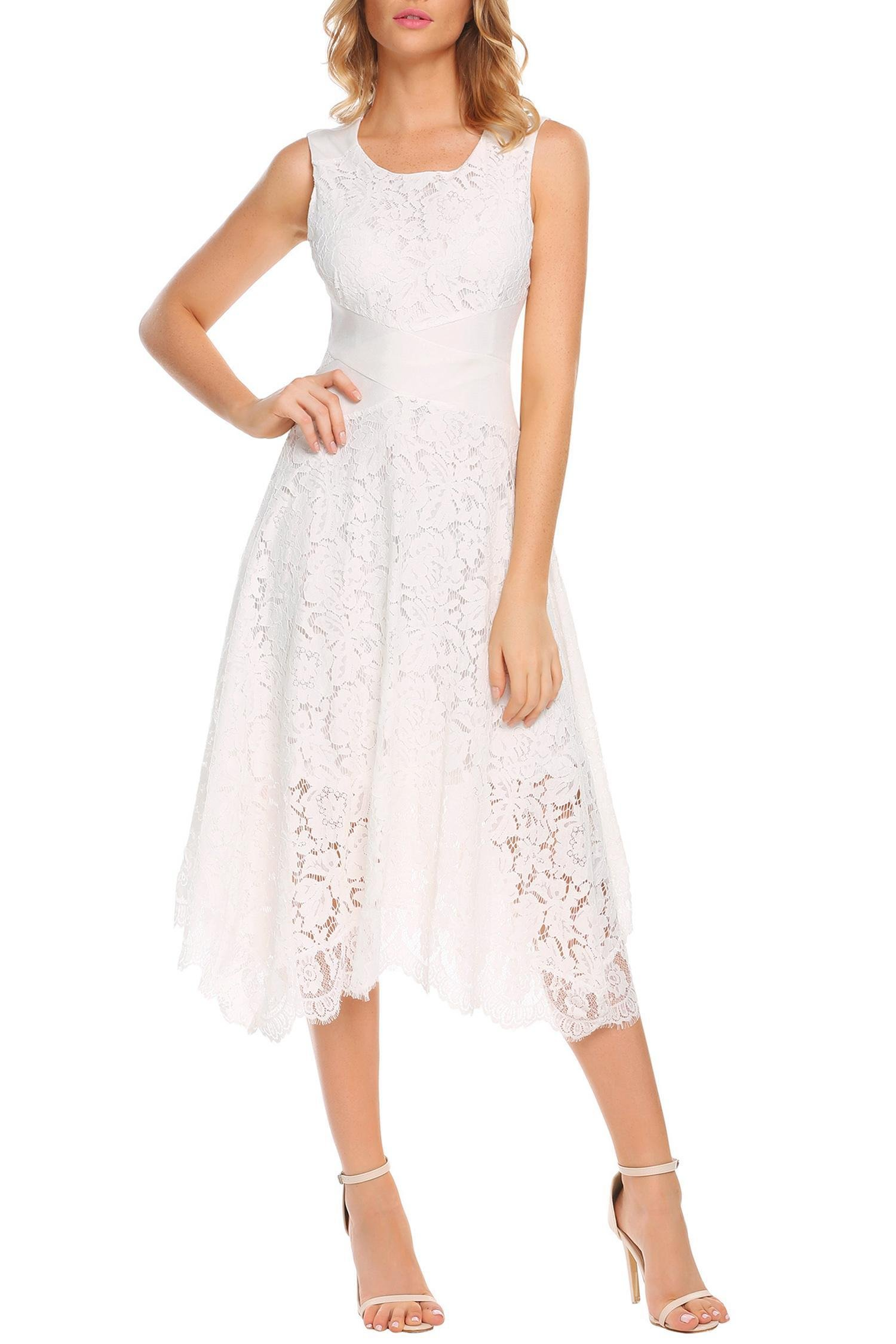 ANGVNS Women's Lace Dress Sleeveless Bodycon Cocktail Party Wedding Dresses White M