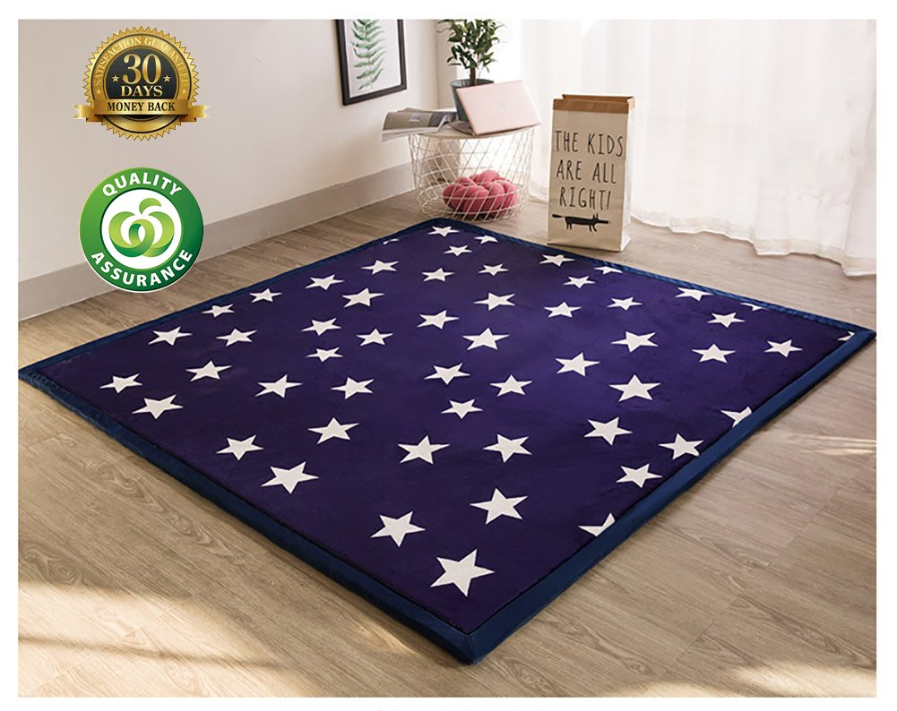 HIGOGOGO Thicken Coral Velvet Large Area Rug, Dark Blue Tatami Mat with Star 78.74'' by 94.48'' Large Living Room Rug Thickness:2CM Ultra Soft Children Crawling Mat Exercise Mat