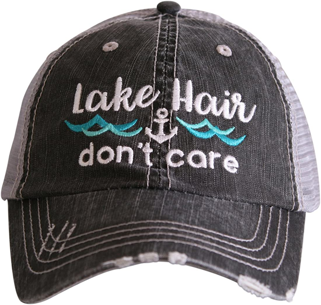 Katydid Lake Hair Don't Care Women's Distressed Grey Trucker Hat