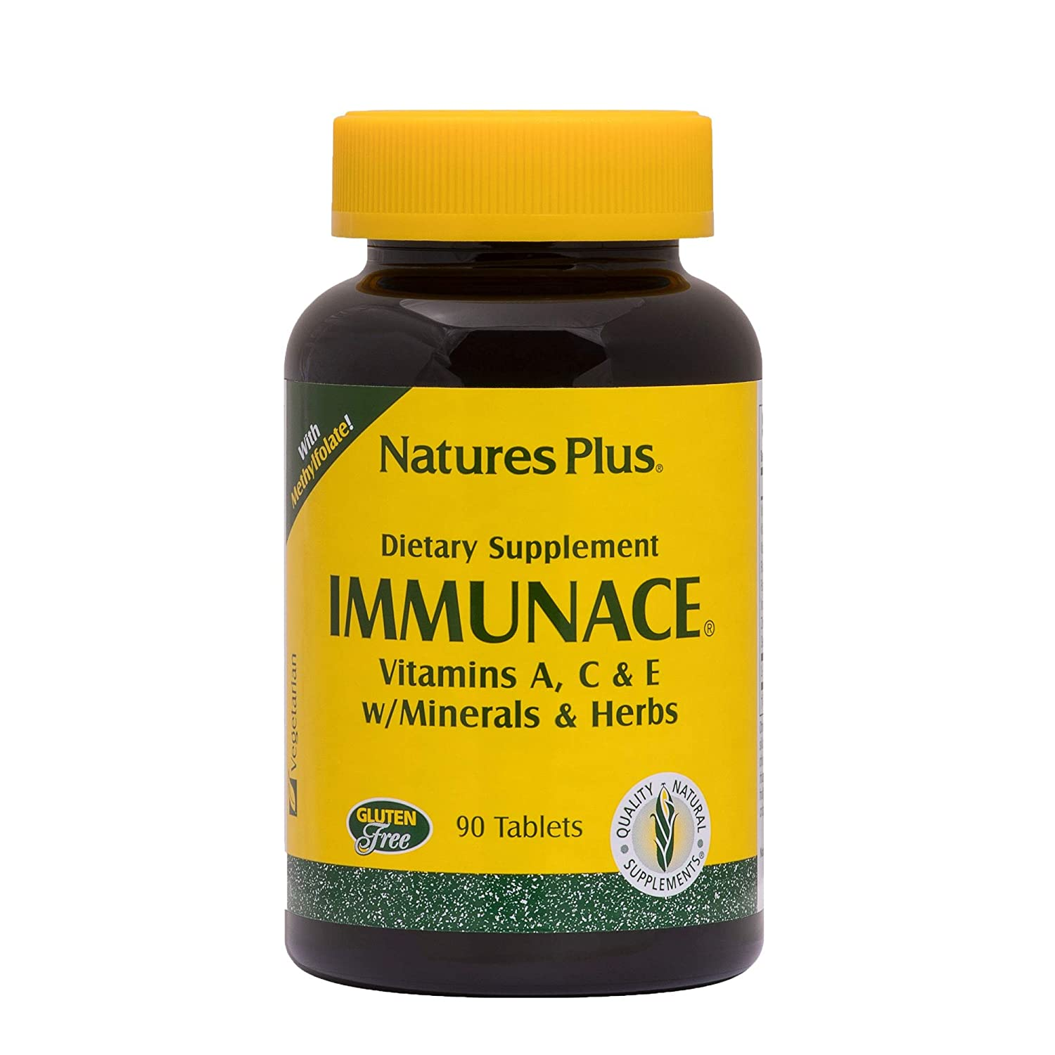 NaturesPlus ImmunAce – 90 Vegetarian Tablets – Immune Health Supplement With vitamin A, C E – Minerals Herbs – Supports Against Free-Radicals – Gluten-Free – 45 Servings