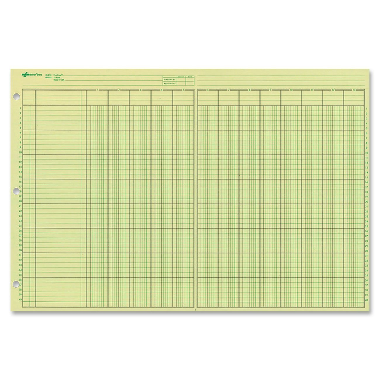 National Analysis Pad, 13 Columns, Green Paper, 11 x 16.375'', 50 Sheets, Sold as 3 Pack (45613) by Rediform