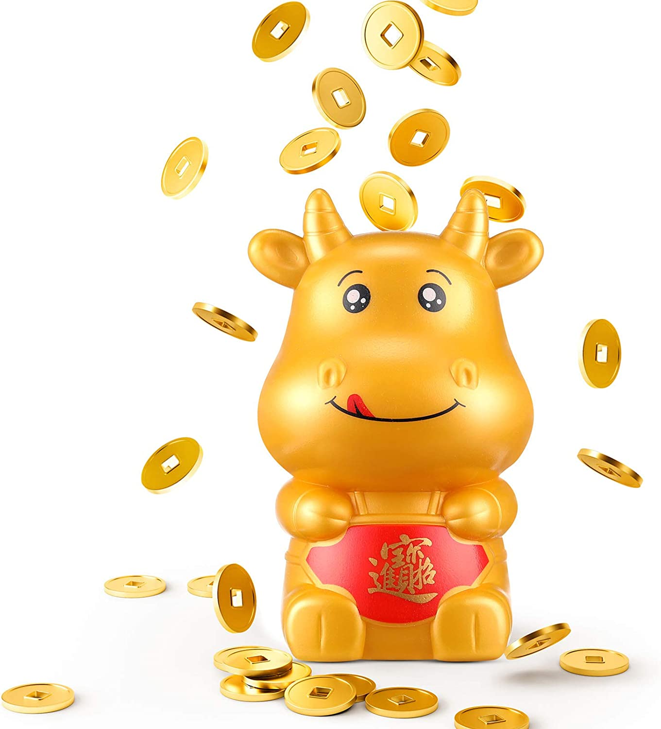 Ox Cow Money Bank Plastic Gold Piggy New Year Coin Saving Box Decorations Patelai Chinese New Year Supplies Favors for Kids