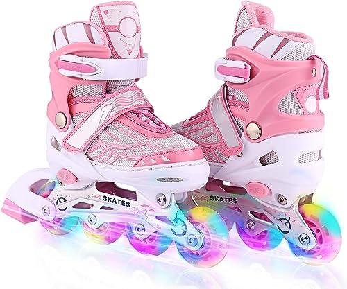 WeSkate Kids Inline Skates with Adjustable Size Light Up Flashing Wheel Roller Skate for Toddler Boys Blue S