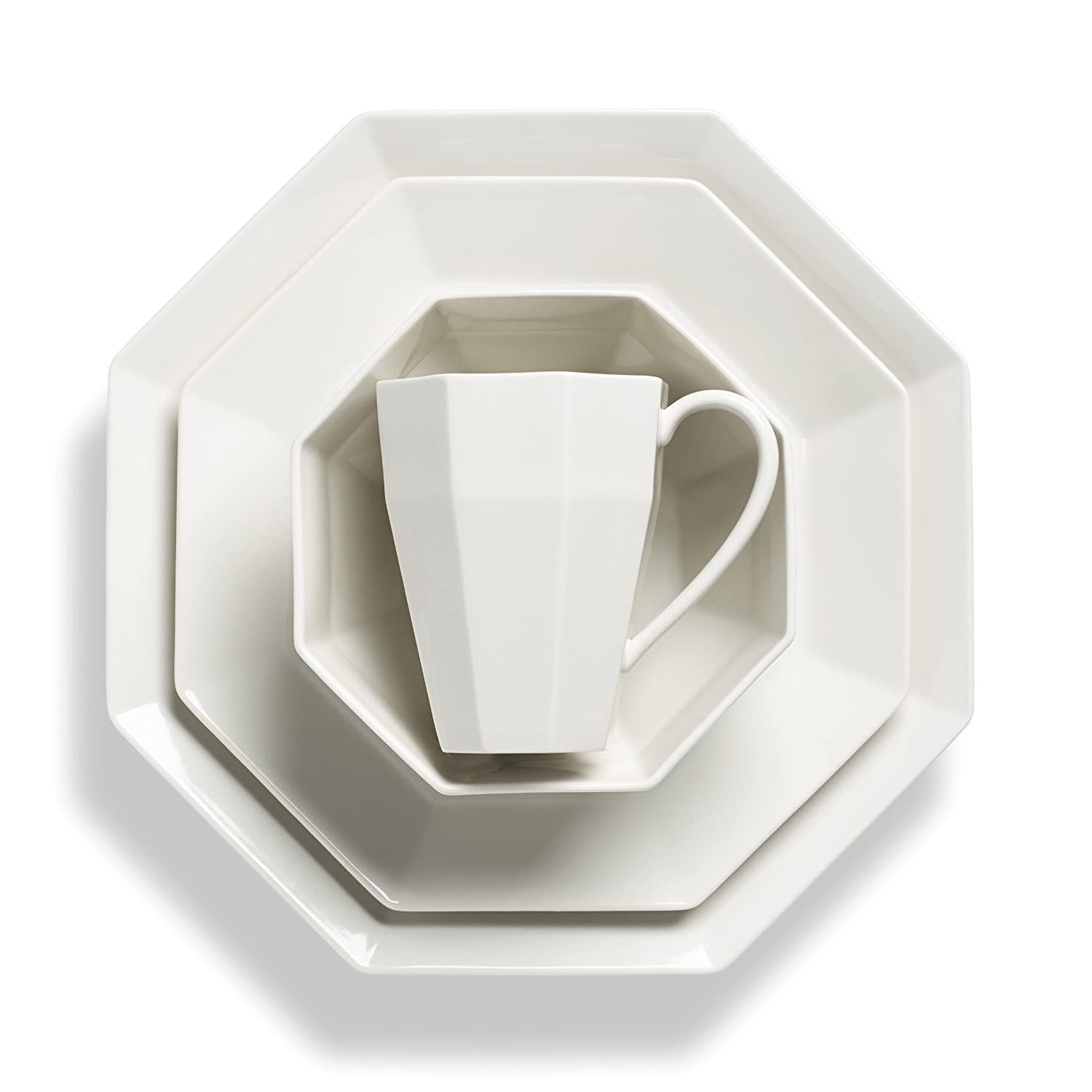 Lenox White Octagon Shape  4-Pc Place Setting