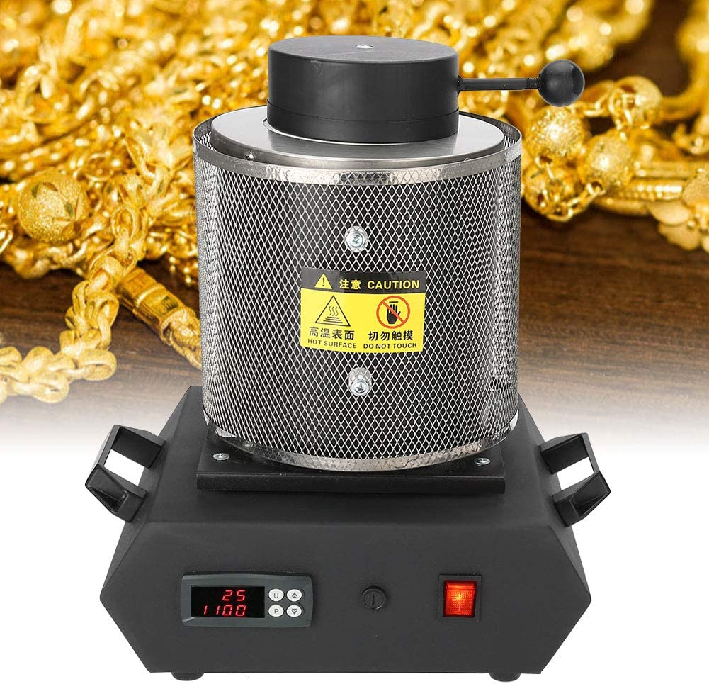 Alucy Gold Melting Furnace 1KG US Silver and Copper Smelting Furnace for high Temperature Melting of Gold and Silver Jewelry Small Melting Machine 110V Gold