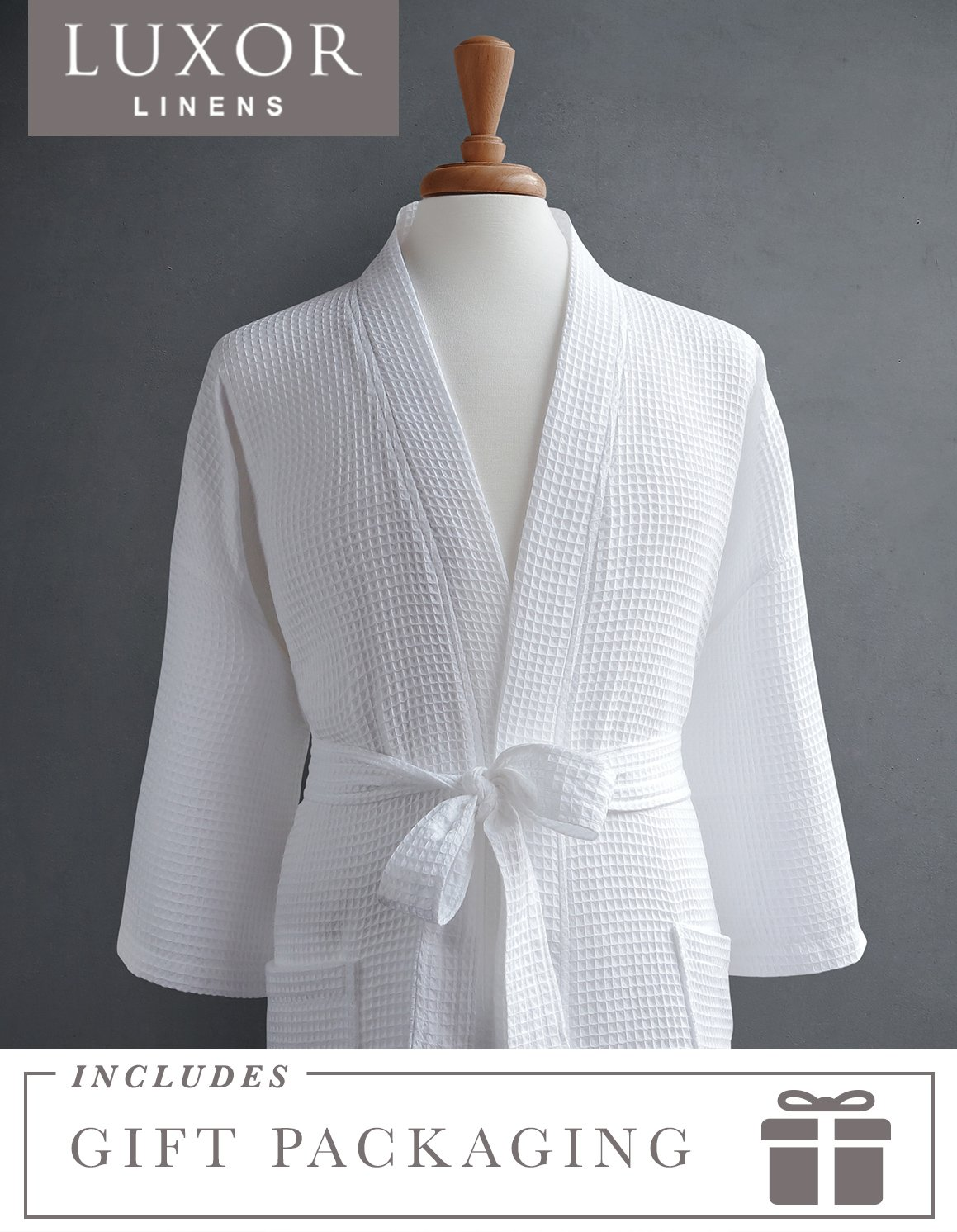 Luxor Linens Waffle Weave Spa Bathrobe - Ciragan Collection - Luxurious, Super Soft, Plush & Lightweight - 100% Egyptian Cotton, Made in Turkey (Single Robe With Gift Packaging, No Monogram)