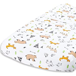 "Cuddly Cubs Woodland Animals Changing Pad Cover – Snuggly Soft Plush Cotton Changing Table Cover for Boy, Girl – Fits Perfectly on Summer Infant and Other 16 x 32"" Baby Changing Table Pads"