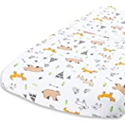 Cuddly Cubs Diaper Changing Table Pad Cover for Baby Girl or Boy | Soft & Breathable 100% Jersey Cotton | Adorable Unisex Woodland Pattern & Fitted Cradle Sheet
