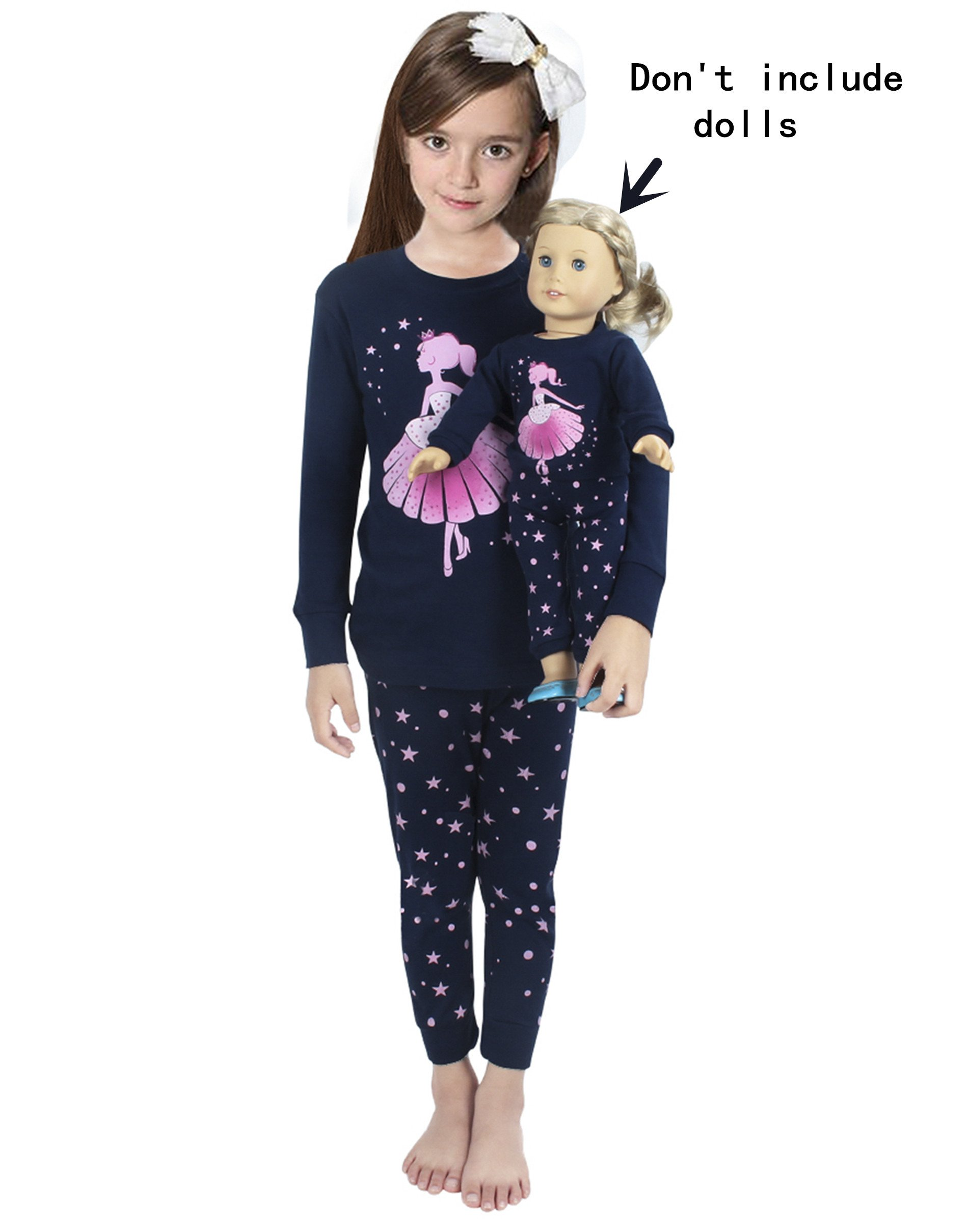 Girls Matching Doll&Toddler Dance 4 Piece Cotton Pajamas Kids Clothes Sleepwear Size 8