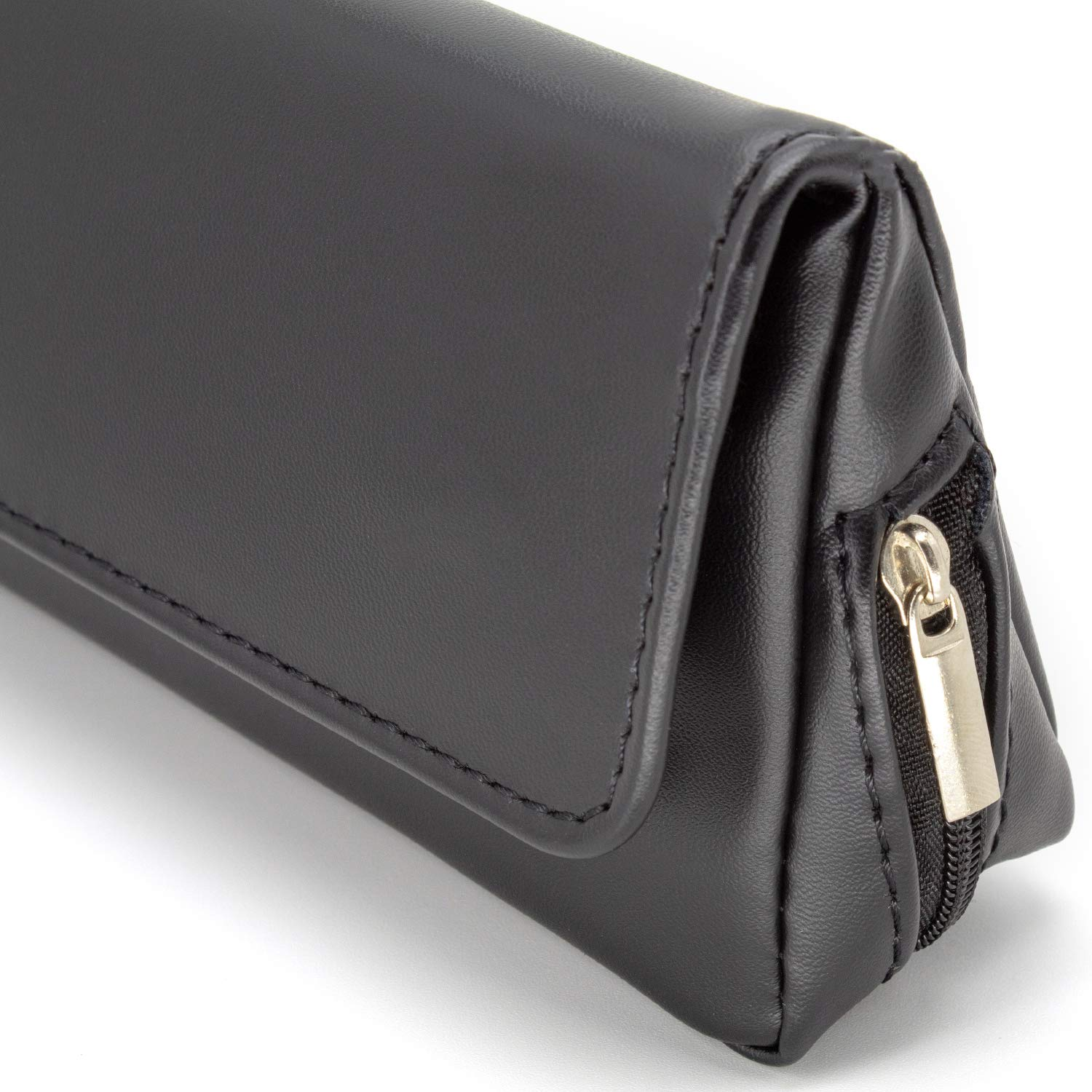 Holds 50g AKORD Soft Black Nappa Leather Tobacco Pouch with Rubberised Lining