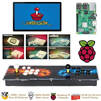 TAPDRA Raspberry Pi 3 Model B+ (B Plus) Arcade Cabinet Machine Video Game Console Complete Full Kit RetroPie Emulation Station ES with 18000+ ...