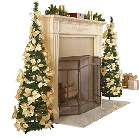 white pull up poinsettia christmas tree - Pull Up Christmas Tree