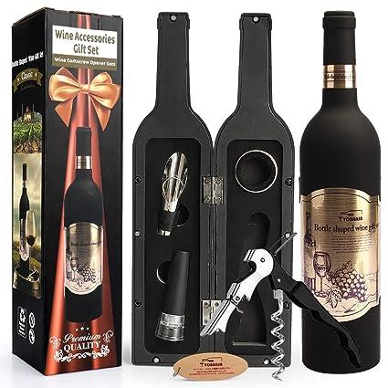 Yobansa Accesorios de Vino en Forma de Botella de Vino Juego de Regalo, Juego de abridor de Vino - Incluye sacacorchos, Tapones de Vino, vertedor de ...