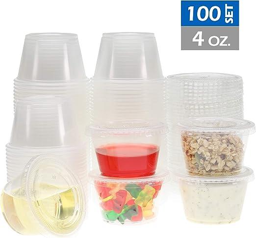 Clear Plastic NEW 4 oz Jello Shot Glasses Souffle Portion Cups w// Lid Option