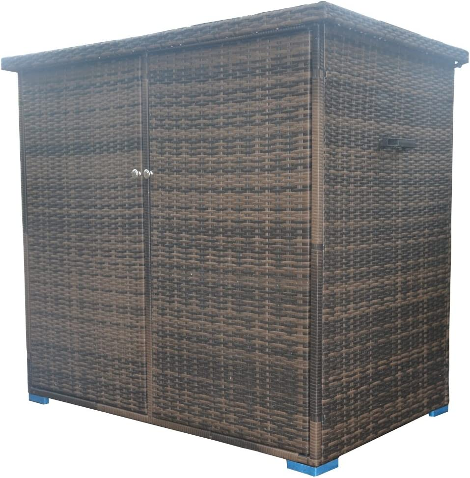 Direct Wicker 4.1 X 2.49 Ft Outdoor Storage Container Patio Wicker Horizontal Storage Shed With Floor (Brown Wicker)
