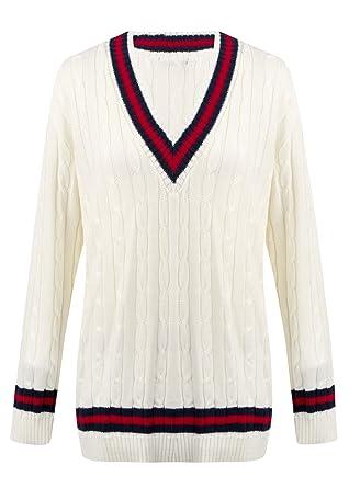 Damen Strickpullover, V-Ausschnitt, Zopfmuster, Cricket-Pullover ...