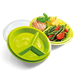 Precise Portions 2-Go Healthy Portion Control Plates, Pack of 2, BPA-Free, 3-Section Plate with Leak-Proof Lids, Dishwasher & Microwave Safe, Helps Manage & Lose Weight, Metabolism & Blood Sugar