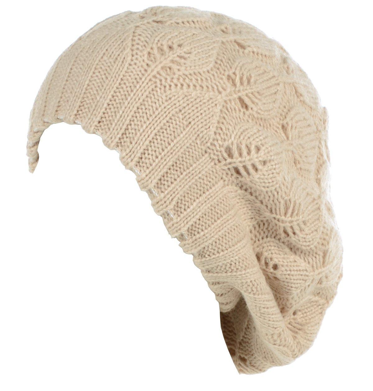 BYOS Winter Chic Warm Double Layer Leafy Cutout Crochet Knit Slouchy Beret Beanie Hat (Beige Leafy)