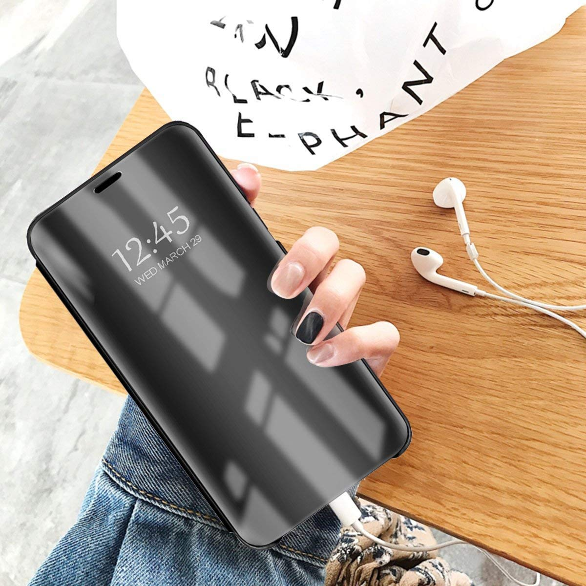 Caler H/ülle Kompatibel Samsung Galaxy A2 Core H/ülle Spiegel Cover Clear View Crystal Case Schutzh/ülle Mirror handyh/ülle handyhuelle etui huelle Flip metallic Frau schal mit Tasche Ledertasche