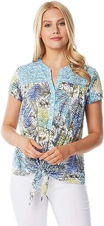 Roman Originals - Camiseta de manga corta con estampado tropical para mujer, primavera, verano, ligera, casual, con botones, cuello en V, manga corta, ...