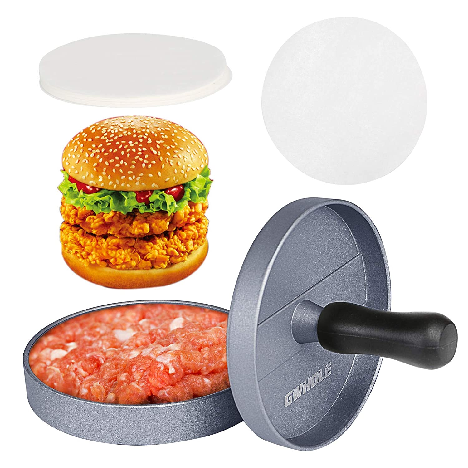 GWHOLE Non Stick Burger Press + 100 Wax Discs, Ideal for BBQ, Lifetime Warranty