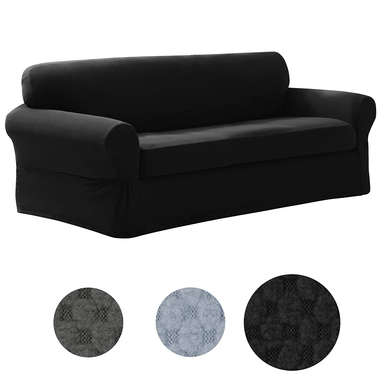 Black Sofa MAYTEX Pixel Ultra Soft Stretch 2 Piece Sofa Furniture Cover Slipcover, Chocolate Brown