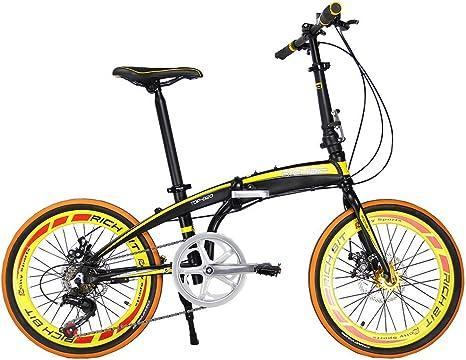 Richbit RT020 mini bicicleta plegable amarilla muy ligera con estructura de aluminio, de 50,8 cm Shimano de 7 velocidades con sistema de desplazamiento. Bicicleta de ciudad con freno de disco: Amazon.es: Deportes
