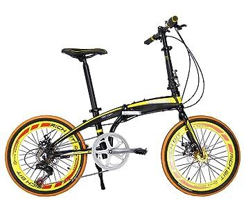 Richbit RT020 mini bicicleta plegable amarilla muy ligera con estructura de aluminio, de 50,