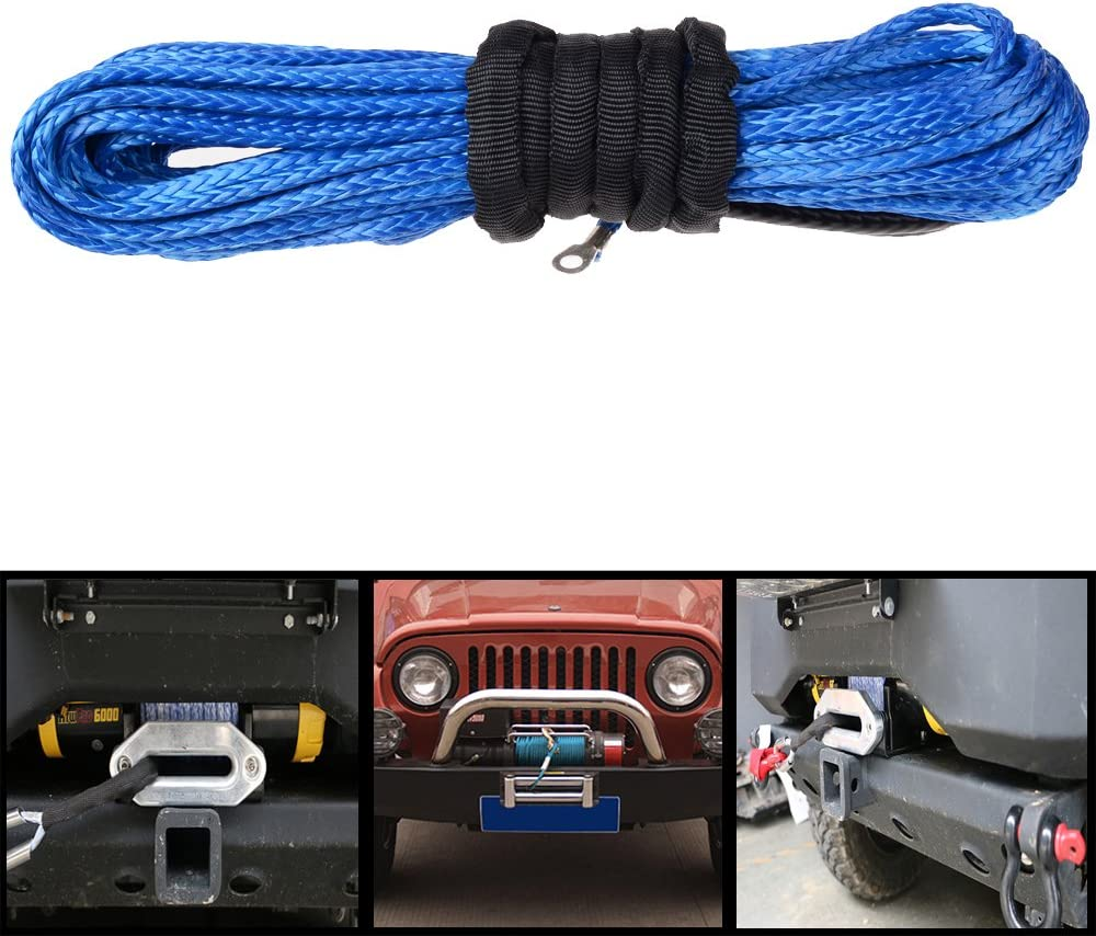 Astra Depot ATV SUV Car Load Capacity 6400lbs Recovery Replacement Synthetic Winch Rope Cable Blue 50x1//4