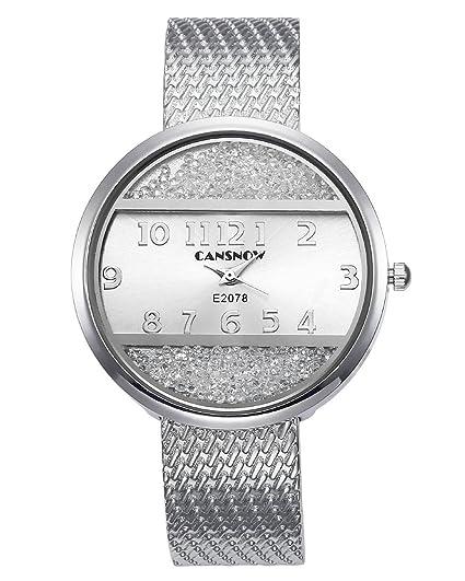 jsdde Relojes Mujer Reloj De Pulsera Chic Manguito Brillantes Mujer Reloj Redondo Horquillas Reloj Pulseras Cuarzo Reloj Plata: Amazon.es: Relojes