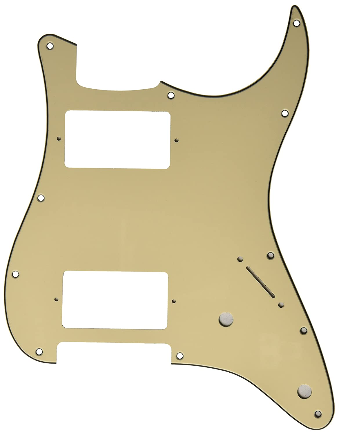Kmise MI0135 Aged White Guitar Pickguard HH 3 Ply for Fender Strat Replacement