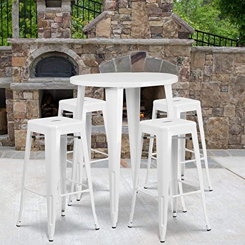 Flash Furniture Commercial Grade 30 Round White Metal Indoor-Outdoor Bar Table Set with 4 Square Seat Backless Stools