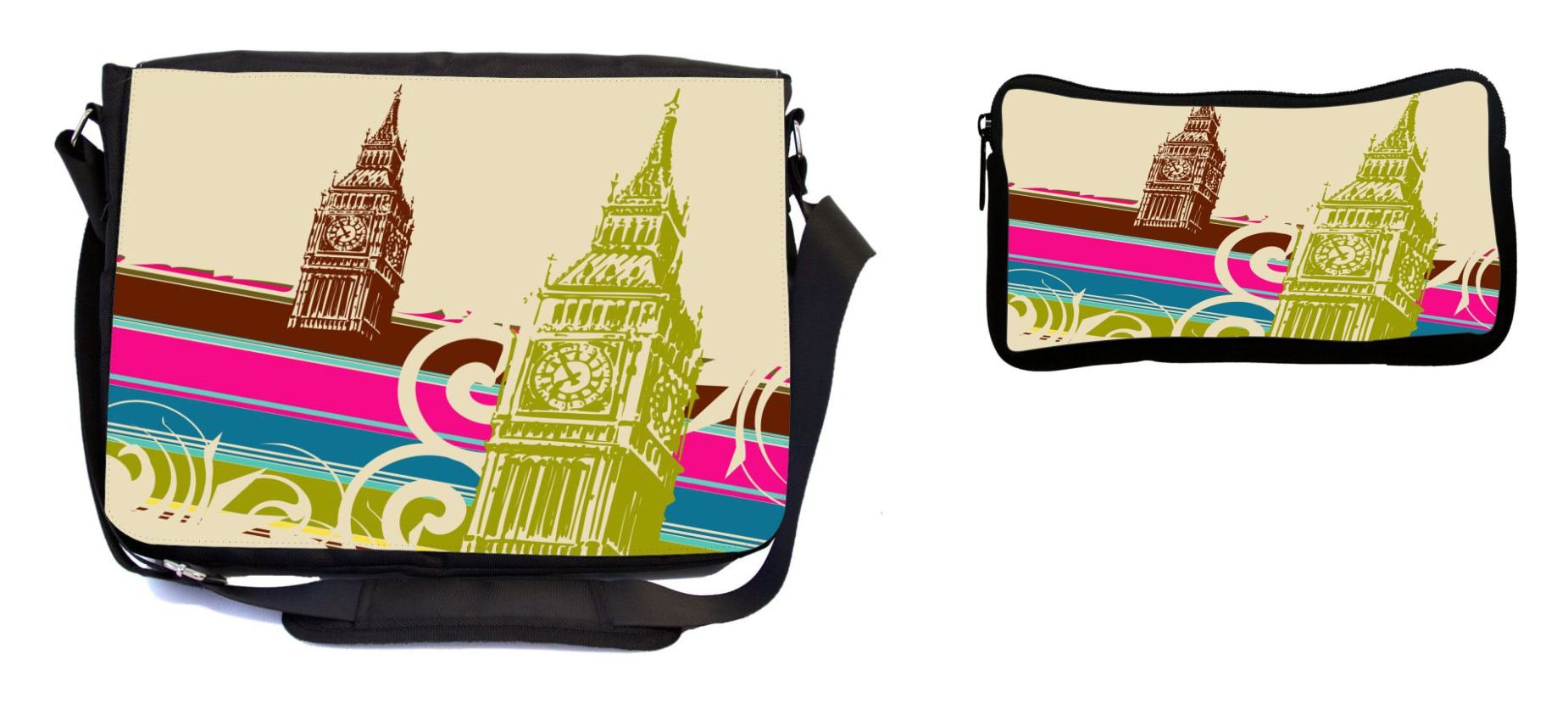 Rikki Knight Fine Art Big Ben Retro Design Multifunction Messenger Bag - School Bag - Laptop Bag - with Padded Insert for School or Work - Includes Pencil Case by Rikki Knight (Image #1)
