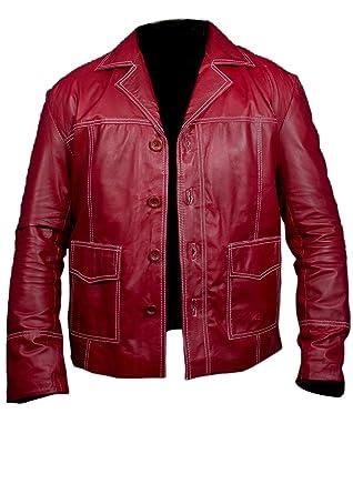 Leatherly Chaqueta de hombre Fight Club Brad Pitt Cuero Chaqueta In Rojo Colour- 5XL: Amazon.es: Ropa y accesorios
