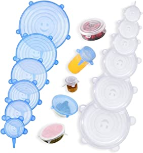 Xcellent Global 12pcs Stretchable Silicone Food Covers Lids, Durable & Expandable Containers to Fit Various Sizes and Shapes of Containers, Microwave, Freezer and Dishwasher Safe HG429