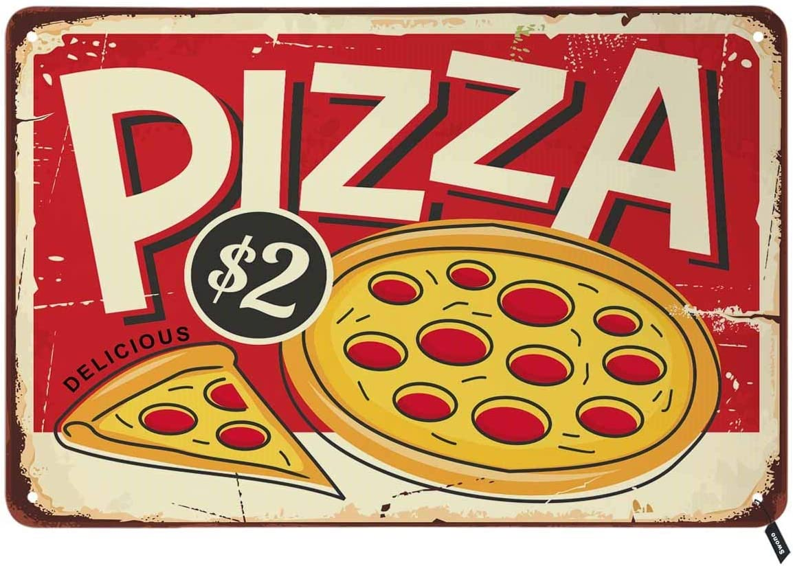 Swono Pizza Tin Signs,Fast Food Italian Restaurant Food Red Vintage Metal Tin Sign for Men Women,Wall Decor for Bars,Restaurants,Cafes Pubs,12x8 Inch