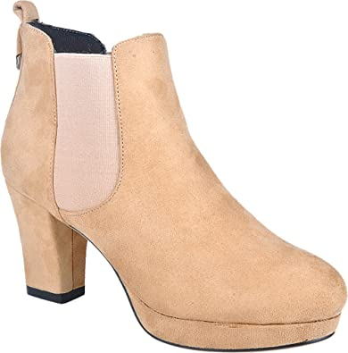 788-1RB Womens Comfort OL Job Bride Wedding Nightclub Platform Round Toe Block Heel Chukka Ankle Boots