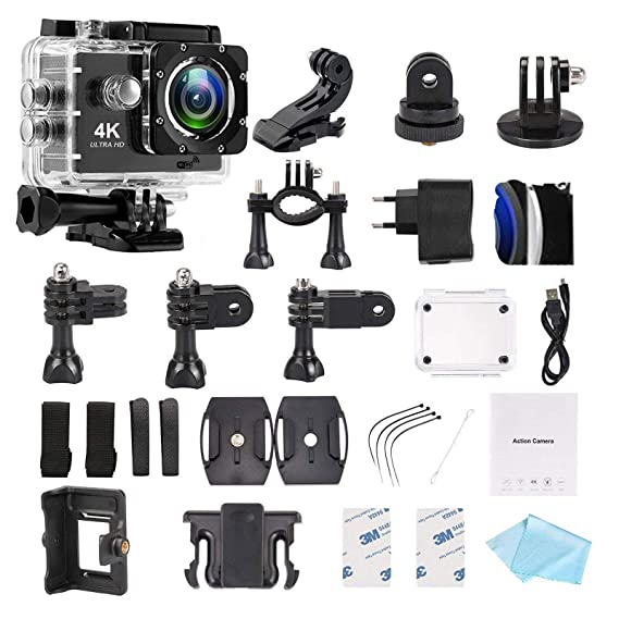 DMG WiFi Action Camera Waterproof Sports Helmet Cam with Mounting Accessories Kit  4K Ultra HD  Point   Shoot Digital Cameras