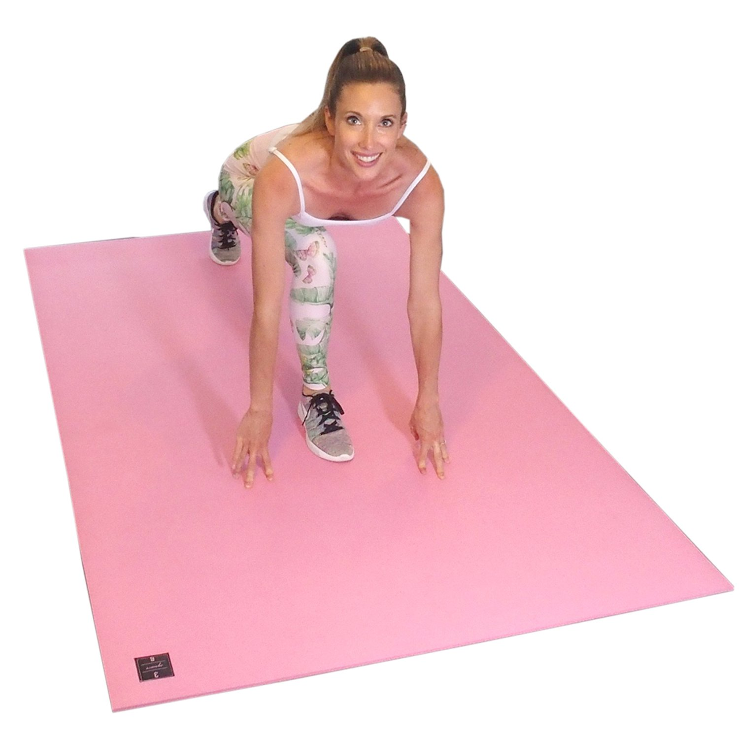 Square36 Large Exercise Mat 6.5 Ft x 4 Ft. Ideal for Home Cardio Workouts with Or Without Shoes. Roll Out in Living Room & Roll Up to Store Large Fitness Mat. (Pink)