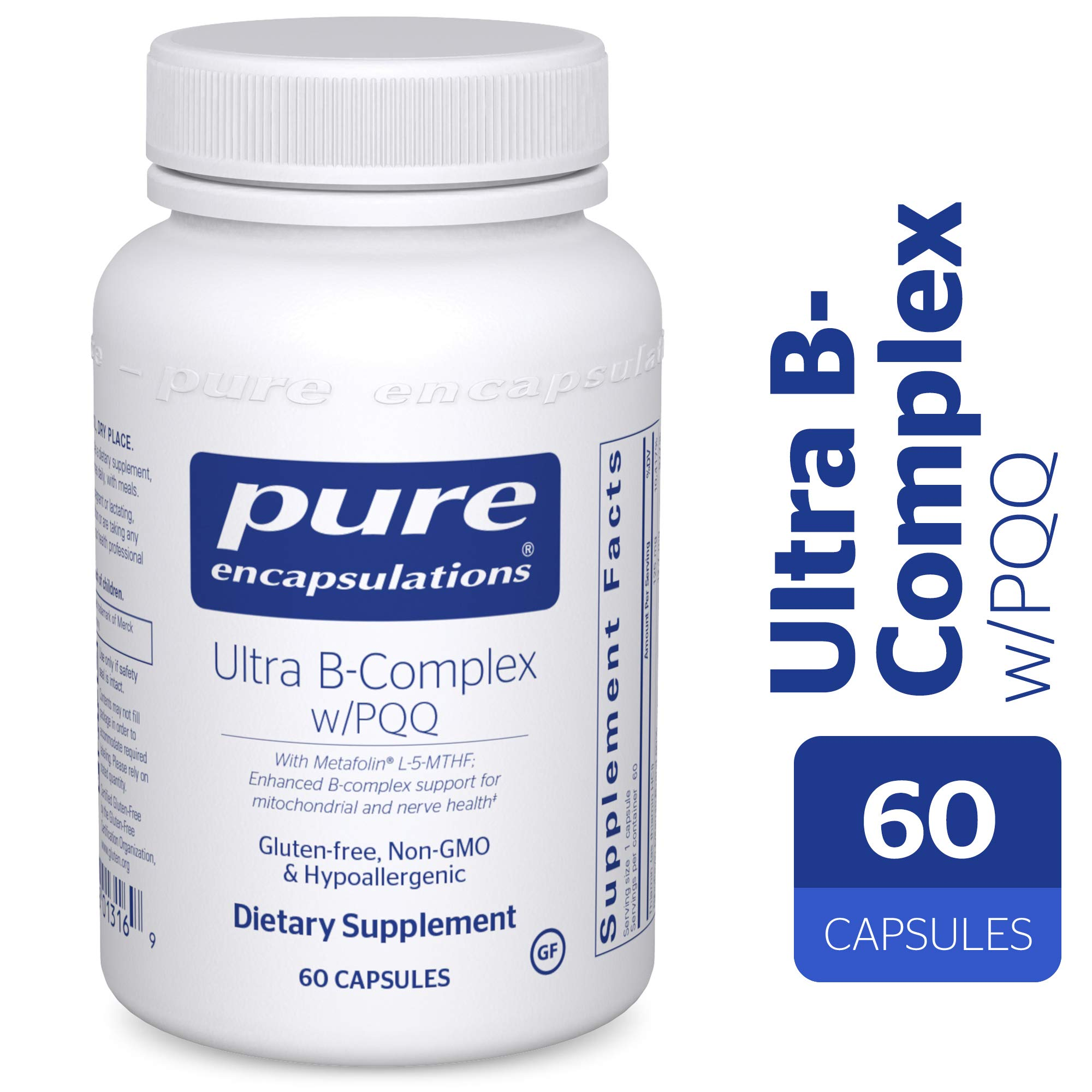 Pure Encapsulations - Ultra B-Complex w/PQQ - Hypoallergenic Supplement with Enhanced Vitamin B-Complex for Mitochondrial and Nerve Health* - 60 Capsules by Pure Encapsulations