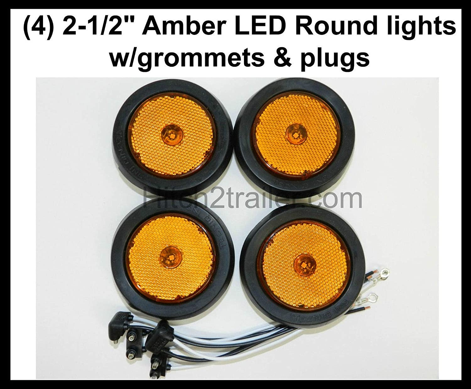 "2pcs Amber 4 LED Round 2.5/"" Clearance Side Marker Light Truck Trailer Lamp"